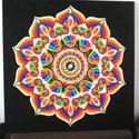 Szivárványvilág Mandala, Képzőművészet, Otthon, lakberendezés, Festmény, Falikép, Festészet, Nappali dísze lehet ez a nagyméretű ( 76 x 76 cm) akril festékkel fára festett és lakkozott mandala..., Meska