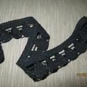 Pamut csipke 3 cm - es, Textil, Szalag, pánt, Fekete , 3 cm széles , Alkotók boltja