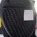 lurex pólófonalból készült táska, Bőr alap, bőr fül és cipzáros alkalmi táska, 30 cm magas , Alkotók boltja