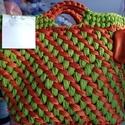 Fettuccia fonalból készült alkalmi táska, , Kötés, horgolás, 35 cm magas és széles, fettuccia fonalból készült, bőr aljjal, Alkotók boltja