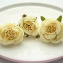 Vanília selyem rózsafej - 3db virágfej/ szett, Dekorációs kellékek, Egyéb kellékek, Varrás, Papírművészet, Virágkötészet, Vanília selyem rózsafej  - 3db virágfej/szett  - a rózsa átmérője 4cm  Sokoldalúan felhasználhatod!..., Alkotók boltja