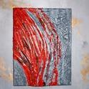 Vörös és szürke 3D-kép, Otthon & lakás, Dekoráció, Képzőművészet, Festmény, Lakberendezés, Festészet, Mindenmás,    Modern lakáshoz kiváló választás!!     Feszített vászonra és vegyes technikával készült ez a kép..., Meska
