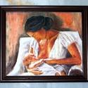 Anya és gyermeke-olaj festmény kerettel, Otthon & lakás, Képzőművészet, Festmény, Anyák napja, Ünnepi dekoráció, Dekoráció, Olajfestmény, Festészet,  Saját készítésű olajfestményem, másolat nem készült belőle, egyedi darab.  A festmény olajjal és  ..., Meska