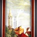 festmény kerettel- Budapest külvárosa nyári naplemente, Otthon & lakás, Dekoráció, Képzőművészet, Festmény, Olajfestmény, Festészet, Saját készítésű olajfestményem, másolat nem készült belőle, egyedi darab.  Nappali ablakom látványa..., Meska
