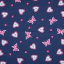 Pamutjersey anyag, szívek és pillangók mintával, Textil, Kötés, horgolás, Pamutjersey anyag, szívek és pillangók mintával.  Kiváló minőségű anyag, alkalmas póló, nadrág, tun..., Alkotók boltja
