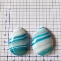 kék , csepp alakú achát kaboson (pár), Gyöngy, ékszerkellék, Cabochon, Ékszerkészítés,  kék , csepp alakú achát kaboson (egy pár)  40x30x9mm, Alkotók boltja