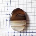 Ovális, kávészínű ónix achát kaboson, Gyöngy, ékszerkellék, Cabochon, 40*28*7 mm , Alkotók boltja