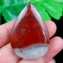 Csepp alakú vérkő, Gyöngy, ékszerkellék, Cabochon, 54*37*6 mm  fúrt!  , Alkotók boltja