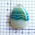 csepp alakú achát kaboson , Gyöngy, ékszerkellék, Cabochon, kék , csepp alakú achát kaboson  40x30x8mm, Alkotók boltja