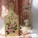 Romantikus, Shabby Chic, vintage rózsás dekoráció, Dekoráció, Otthon, lakberendezés, Esküvő, Kép, Festett tárgyak, Vágódeszkára kézzel festett romantikus vintage rózsás kép, domború díszítéssel,  szép ajándék hölgy..., Meska