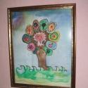 Hernyóselyem alapanyagra festett kép, egyedi készítés., Textil, Selyem, Festett tárgyak, festészet, Festőfelület, Saját tervezésű és készítésű selyemkép, gyönyörű vidámságot sugárzó egyedi életfa. Hernyóselyemre a..., Alkotók boltja