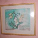 Hernyóselyem festmény, Hóvirág., Saját tervezésű és készítésű selyemkép, gyönyörű vidámságot sugárzó, a tavasz hirnő..., Alkotók boltja