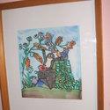 Hernyóselyem festmény, mesebeli Kisvakond., Saját tervezésű és készítésű selyemkép, gyönyörű vidámságot sugárzó, a mesebeli Kisv..., Alkotók boltja