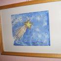 Hernyóselyem festmény, Hullócsillag., Saját tervezésű és készítésű selyemkép, gyönyörű vidámságot sugárzó, szerencsét hoz..., Alkotók boltja