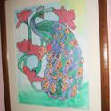 Hernyóselyem festmény, Gyönyörű páva., Saját tervezésű és készítésű selyemkép, gyönyörű vidámságot sugárzó, egyedi, szines ..., Alkotók boltja