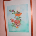 Hernyóselyem festmény, nyári virágcsokor., Saját tervezésű és készítésű selyemkép, gyönyörű vidámságot sugárzó, egyedi, vidám,..., Alkotók boltja