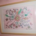 Hernyóselyem festmény, Szerelemvirág cimmel., Saját tervezésű és készítésű selyemkép, gyönyörű vidámságot sugárzó, örök szerelem..., Alkotók boltja