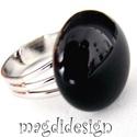 Éjfekete üvegékszer gyűrű, Ékszer, Baba-mama-gyerek, Ruha, divat, cipő, Gyűrű, Ékszerkészítés, Üvegművészet, Fekete ékszerüveg felhasználásával készült a gyűrű, olvasztásos technikával. A gyűrűfej átmérője 1...., Meska