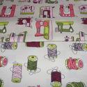 Varrógépes és cérna orsós  egyedi holland Design textil:o)  75 x 30 cm minőségi textil , Textil, Pamut, Kiváló minőségű - egyedi tervezésű - jogvédett termék -  Textil - akár - patchwork - anyag  Holland ..., Alkotók boltja