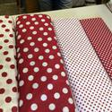 PÖTTYÖS MÁNIA Fehér alapon piros pöttyös 140 cm széles 1.500.-Ft.-, Textil, Pamut, Mindenmás, Varrás, Textil, Kellemes viselet  variálható - kombinálható   100% pamut  és piros alapon fehér pöttyös  fehér alap..., Alkotók boltja