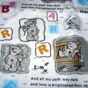 Bájos macis - pink, szürke és zöld design textil 70 x 30 cm , Textil, Pamut, Mindenmás, Varrás, Textil, Kiváló minőségű - egyedi tervezésű - jogvédett termék -  Textil textil- akár - patchwork - anyag  D..., Alkotók boltja