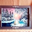 Zúzmarás alkony, , Festett tárgyak, festészet, Festékek, Lakk, Vászonra,akril festékkel festett téli tájkép.Mérete:58 X 42 cm.Keretezve.Előre vásárolt fenyő keret..., Alkotók boltja