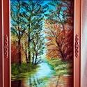Erdőben, , Festett tárgyak, festészet, Festékek, Lakk, A festményemet vászonra, akril festéket használva alkottam meg .Méret:42 X 58 cm.A kép keretezve va..., Alkotók boltja