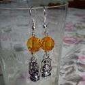 Fülbevaló_ Tibeti ezüst lámpás narancssárga gyönggyel, Ékszer, Fülbevaló, Ékszerkészítés, Kb. 4cm ez a fülbevaló, melyet tibetiezüst lámpásból és narancssárga gyöngyből készítettem.  (Pay-p..., Meska
