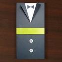 PRITY esküvői meghívó, Csináld magad leírások, Egységcsomag, Papírművészet, Ötletes esküvői meghívó öltönyös, menyasszonyi ruhás megoldással  • alapja sötétszürke karton • mel..., Alkotók boltja