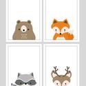 Erdei állatos (mosómedve,róka,szarvas,medve) keretezett falikép sorozat / babaszoba dekoráció (4 db) 20x30-as méretben, Baba-mama-gyerek, Baba-mama kellék, Gyerekszoba, Baba falikép, Fotó, grafika, rajz, illusztráció, Ez a vektorgrafikával készült 4 db-os állatkás képsorozat, tökéletes dekoráció lehet baba - és gyer..., Meska