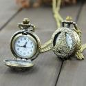 """Antik bronz """"Eiffel"""" ékszeróra/nyakláncóra, Órakészítés, Vegyes alapanyag, Ékszerkészítés, Antik bronz színű, lenyitható fedelű nyaklánc óra.  Mérete: 2,5cm átmérőjű A nyaklánc hossza 80cm, ..., Alkotók boltja"""