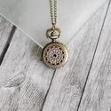 """Antik bronz  """"pókháló"""" ékszeróra/nyakláncóra, Órakészítés, Vegyes alapanyag, Ékszerkészítés, Antik bronz színű, lenyitható fedelű nyaklánc óra, gyönyörű, egyedi mutatóval.  Mérete: 2,5cm átmér..., Alkotók boltja"""