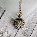 """Antik bronz """"lótusz"""" ékszeróra/nyakláncóra, Órakészítés, Vegyes alapanyag, Ékszerkészítés, Antik bronz színű, lenyitható fedelű nyaklánc óra.  Mérete: 2,5cm átmérőjű A nyaklánc hossza 80cm, ..., Alkotók boltja"""