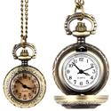 Antik bronz barnított üveges ékszeróra/nyakláncóra, Órakészítés, Vegyes alapanyag, Ékszerkészítés, Antik bronz színű, lenyitható fedelű nyaklánc óra, átlátszó üveglencsével.  Mérete: 2,5cm átmérőjű ..., Alkotók boltja