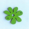 Zöld színű fa virág dísz 4db/ csomag, Gyöngy, ékszerkellék, Egyéb alkatrész, 3,5cm széles zöld színű Fa 4db/csomag , Alkotók boltja