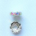 10mm-es Ab kristályos Rihenstone köztes 10db/csomag, Gyöngy, ékszerkellék, Fém köztesek, 10db/csomag Mérete 10mm Ab kristályos Rihenstone köztes Ezüst színű , Alkotók boltja