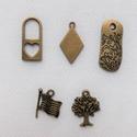 Bronz medálok (3) 5db/csomag, Gyöngy, ékszerkellék, Fém köztesek, Alkotók boltja