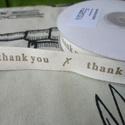 """""""Thank you"""" pamutszalag, Textil, Szalag, pánt, Varrás, Szalag, Alkotásból megmaradt 15 mm széles pamutszalag """"Thank you"""" felirattal. Ideális köszönőajándékokhoz. ..., Alkotók boltja"""