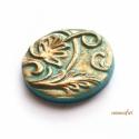 Türkiz-bronz indás kaboson süthető gyurmából, Gyöngy, ékszerkellék, Gyurma, Alkotók boltja