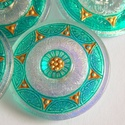Menta  35mm , Gyöngy, ékszerkellék, Cabochon, Fantasztikusan szép menta színű gombok.   Ezeket a gombokat kézzel festik.   Felhasználható gy..., Alkotók boltja