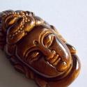 Shiva budha  tigrisszem , Gyöngy, ékszerkellék, Cabochon, AAA+++  minőségű, nagyon részletesen kidolgozott , csodálatos budha. 42mm magas,22mm széles és 12mm ..., Alkotók boltja