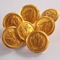 Arany színű  fém gomb 6/b, Gomb, Gyöngy, ékszerkellék, 20 mm átmérőjű arany  színű fém gomb. Ebből a gombból létezik kisebb is.  6/a alatt találod.  Minden..., Alkotók boltja
