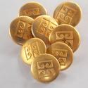 Arany színű  fém gomb 9/b, Gomb, Gyöngy, ékszerkellék, Alkotók boltja