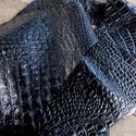Krokodil mintás fekete   báránybőr , Gyöngy, ékszerkellék, Egyéb alkatrész, Alkotók boltja