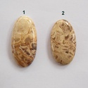 Root Plume Agate, Gyöngy, ékszerkellék, Cabochon, Gyönyörű mintázatú, nagyon szépen polírozott kövek.   Méretek: 1:  37mm X 18mm x 5 mm  2:  ..., Alkotók boltja