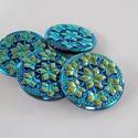 Kék virágok  31mm, Gyöngy, ékszerkellék, Cabochon, Csodaszép kék-arany kézzel festett gombok.     Ezeket a gombokat 24 karátos arany porral  kézze..., Alkotók boltja