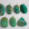 Chrysocolla 1 , Gyöngy, ékszerkellék, Cabochon, Ékszerkészítés, Fantasztikusan szép, különleges mintázatú Chrysocolla féldrága kövek.   Mérete: A 1.  40mm X 23 mm ..., Alkotók boltja