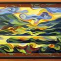 A tihanyi belső tó látképe - olajfestmény, Otthon & lakás, Esküvő, Képzőművészet, Lakberendezés, Nászajándék, Festmény, Olajfestmény, Falikép, Festészet, Félig absztrakt olajfestmény festett kerettel, ami a kép része. A téma visszatérő, a tihanyi belső ..., Meska