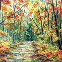 A háborítatlan erdő - akvarell, Otthon & lakás, Esküvő, Dekoráció, Képzőművészet, Festmény, Festészet, Fotó, grafika, rajz, illusztráció, A/4-es méretű akvarell festmény akvarell papíron. Vidám hangulatú, energikus. Imádom az erdőt, a fá..., Meska
