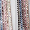 Strassz lánc, Gyöngy, ékszerkellék, Flitter, strassz, Ékszerkészítés, Varrás, 400 Ft/20 cm   2,5 mm-es strasszlánc ezüst színű foglalatban, nagyon szép sűrű kiosztásban hímzéshe..., Alkotók boltja